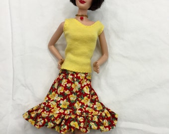Handmade Barbie clothes, Barbie skirt, Red and yellow floral ruffle Barbie skirt