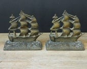 Vintage Metal Ship Bookends. Nautical. Home Decor. Cottage. Library.