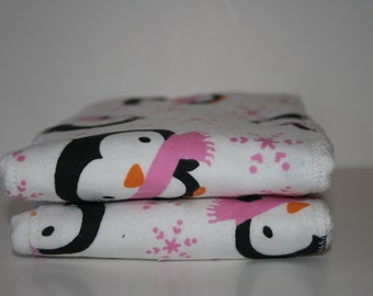 Burp Cloth/Burp Rag Baby Flannel Penguins with pink bows (1)