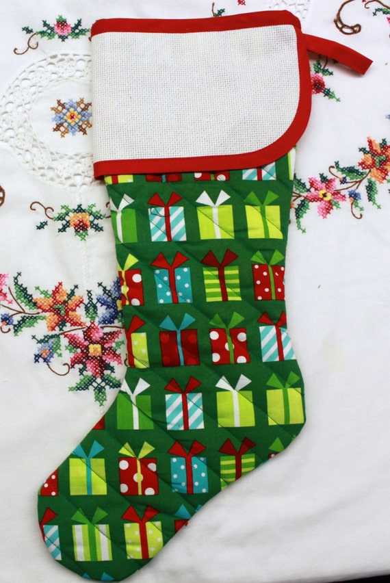 Modern Bright Gifts Stitchable Quilted Cross stitch Christmas Stocking