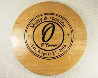 Anniversary Established Date, Lazy Susan Gift,Wood Lazy Susan,Gift with Established Date,Unique Personalized Wedding Gift,Handmade Lazy Susa