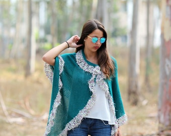 Turquoise wrap shawl, knit shawl, Scarf Shawl - A long lovely green knitted shawl Clothing Accessory