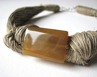 Honey Agate- linen necklace