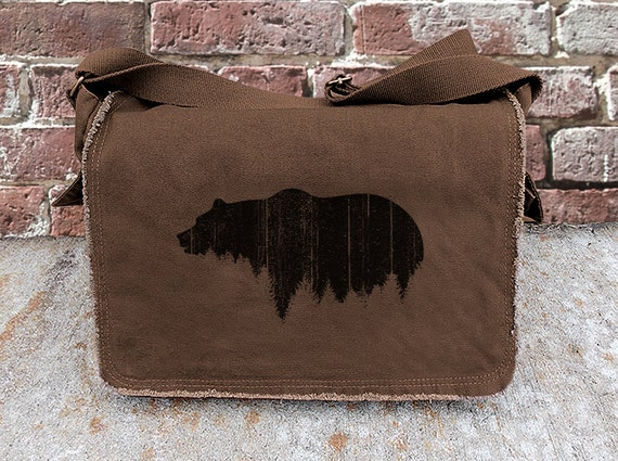 Messenger Bag - Bear Above Tree Line - Screen Printed Messenger Bag