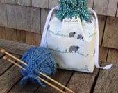 Sock Knitting Project Bag, Drawstring, Fully Lined, Sheep with Polka Dots