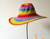 Rainbow Summer Floppy Hat. Women Cloche Wide Brim. Beach Multicolored Romantic Hat. Sun Protection Cotton Hat by dodofit on Etsy
