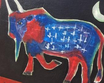 JusT Like An AmericAn  - RED White 'n' BLUE - BuffalO - Folk Art - Original Wood Painting  / Cathy DeLeRee