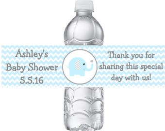 20 Printed Personalized Blue & Grey (Gray) Elephant Baby Shower Water Bottle Labels - Blue Chevron Stickers **Discounts Available