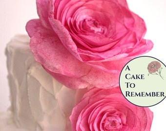 "One large wafer paper flower rose for cake decorating or a modern wedding cake topper. 4"" diameter. Rose style."