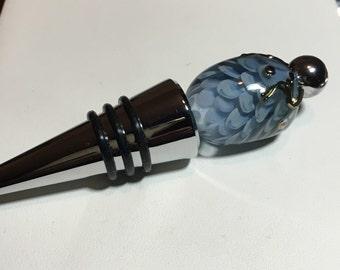 Handmade wine stopper, blue petal Lampwork wine topper, bling home decor, lampwork wine bottle cork