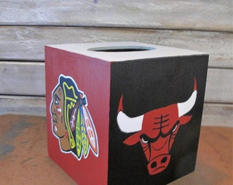 Hand painted Chicago Sports Team  tissue box cover