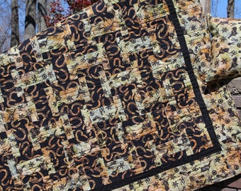 Western LAP Quilt. Southwestern. Old West BATIK quilt. horseshoes. Guns. Gifts for Men. Father's Day. Rustic WEDDING quilt. Graduation Gift.
