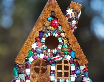 Mosaic, Gingerbread House, full of Christmas, snowflakes, and Snowmen, holiday, candy cane, decor birdhouse