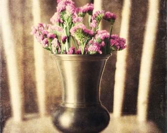 Vintage Still Life Print or Canvas Wrap, Vase of Flowers, Sepia, Warm Brown, Antique Floral Print, Bathroom Decor, Bedroom Decor, Vintage.