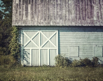 Aqua Grey Barn Landscape, Soft Mint Barn Print or Canvas Wrap, New York Barn Art, Barn Picture, Charlton New York Barn Picture, Barn Doors.