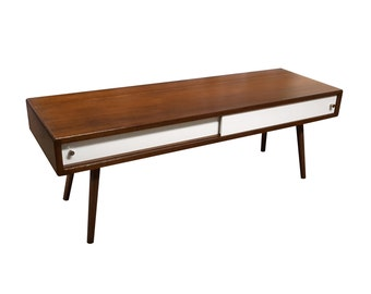 Bamboo Mid Century Inspired Coffee Table with Doors