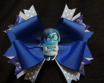 Inside out inspired bow, 5 inch sadness hairbow
