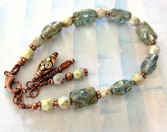 Fire Polish Czech Bead Bracelet, Green Czech Bead Copper Bracelet, FREE US SHIPPING, Olive Green Czech Bead Bracelet