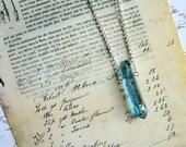 Aqua Aura Quartz Crystal Wand - Enchanted Petite Necklace - quartz point, natural, blue, Quartz necklace, minimal necklace, modern, ooak