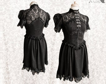 Dress, Victorian inspired, romantic goth, black lace, Kuro, Maeror, Somnia Romantica, size small - medium see item details for measurements