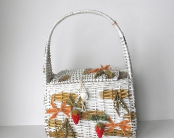 ON SALE Vintage Wicker Purse with Velvet Strawberries, Made in Japan