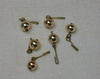 Miss Revlon Doll Earrings, Mid Century Gold Ceramic Balls. New Old Stock