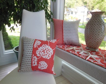 Set of Two Coordinating Pillows - Autumn Pillows - Coral Orange Pillows - Fall Home Decor Pillow - High End Fabrics - Only Set Available