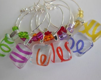 Outdoor Party Wine Charms - Lime Green, Hot Pink, Orange, Purple, Red, Yellow - Set of Six - Glass Wine Charms Made by Pillowscape Designs