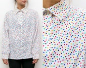 80s Geometric Blouse / 90s Multi Color Polka Dot Button Up Shirt / Small Medium Disco Blouse Abstract Rainbow Colorful Collared Shirt 14