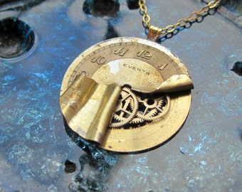 """Watch Face Pendant """"Torn"""" Deconstructed Watch Dial Necklace Recycled Upcycled Gear Art Steampunk by A Mechanical Mind"""