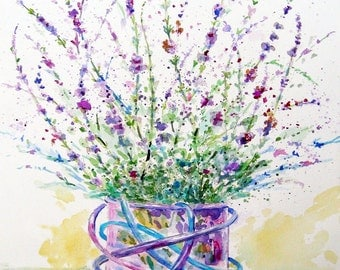 Chihuly inspired Vase and Lavender