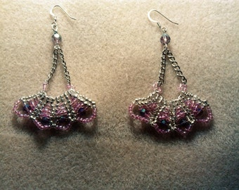 Blushing Lilac Lace Earrings