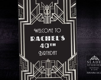 Silver and Black Art Deco Great Gatsby Glamour 1920s Party poster. Printable. Customised Party Welcome Poster.