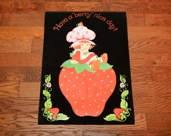 "vintage 70s Strawberry Shortbacke poster black velvet black light poster Have A Berry Nice Day 1970 wall decor 20""x28"""