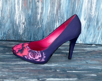 Nine West Purple High Heels/ Floral/ Platform Pumps Multi Floral Size
