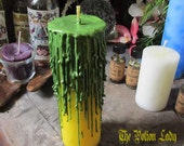 Van Van - Crown Of Glory Candles - Pyrite, Lemongrass, Witchcraft Supplies, Pillar Candle, Yellow Candle, Spell Candle, Wiccan Candle