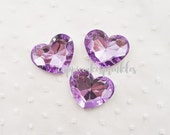 1pc - 43mm BIG Lavender Faceted Acrylic Heart Rhinestone AH30043