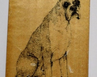 Stamp Gallery Boxer Puppy Dog Woodern Rubber Stamp Crafting