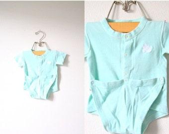 30% OFF out of town SALE Vintage baby boy girl onesie jumpsuit // summer baby bird jumper romper onesie // infant onesie // summer time romp