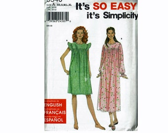 Nightgown Uncut Sewing Pattern Misses Sizes xs s m l xl Bust 30 1/2-46 Simplicity 9540 It's So Easy