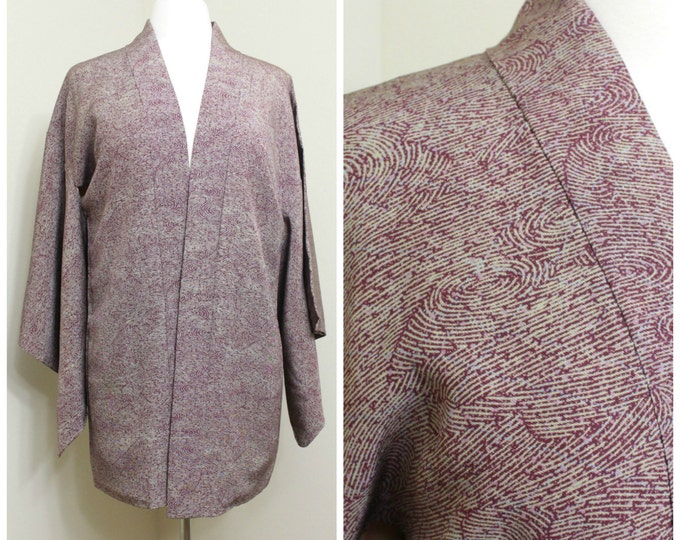 Japanese Haori Jacket. Vintage Silk Coat Worn Over Kimono. Purple Water Wavy Design (Ref: 079)