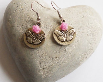 Earrings with butterflies and flowers