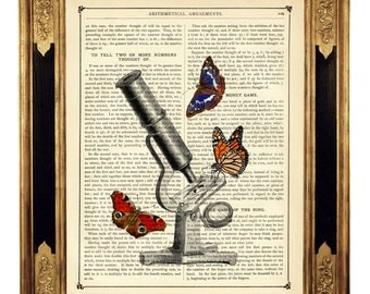 Butterflies Microscope Science Optical Instrument - Vintage Victorian Book Page Art Print Steampunk