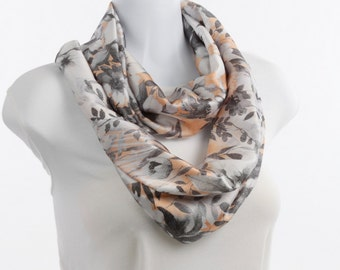 Silky Infinity Scarf Peach and Gray on White Floral ~ SK221-L5
