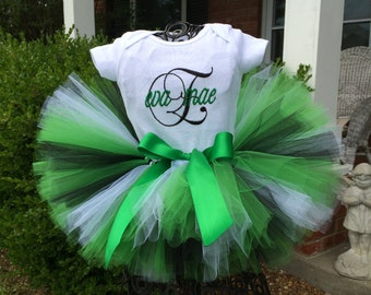 Green, Black & White with green satin ribbon, Newborn Tutu, Baby Tutu, Tutus for children, 1st birthday tutus, birthday tutu