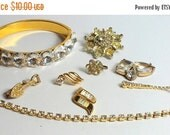 MOVING SALE Half Off Destash Craft Lot of Vintage and Salvaged Gold Metal and Clear Rhinestone Jewelry Pieces