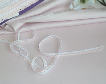 1/4 Inch White and Pink Cotton Lace Trim/Edging