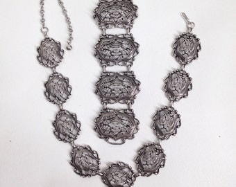 SALE was 68.88. Wide Gothic Necklace and Bracelet Set. Blackened Silver, Filigree, Linked Panel, Victorian Look Choker and Cuff Bracelet Set