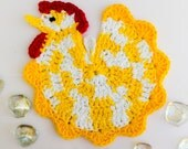 Chicken Hot Pad, Yellow and White Chicken, Kitchen Decor, House Warming Gift, Hostess Gift, Gift Basket Item, Table Decor, Cotton