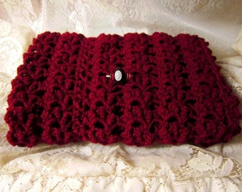 Victorian Burgundy Wool Shawl with Rose Cameo Brooch